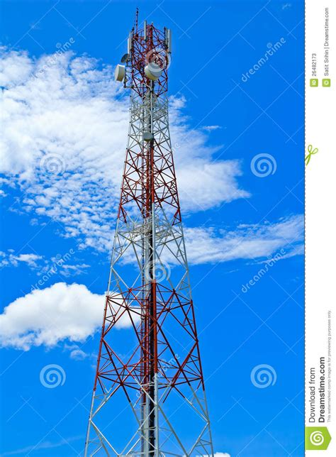 Microwave Link telecommunication mast with microwave link stock image image 26482173