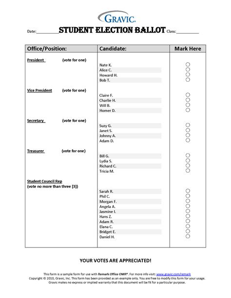 Student Council Ballot Template student election ballot 183 remark software