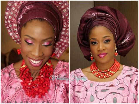 aso oke and lace attires for yoruba traditional weddings pink and wine aso oke and lace with lovely red coral beads