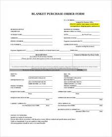 blanket purchase order agreement template sle purchase order form 9 exles in word pdf
