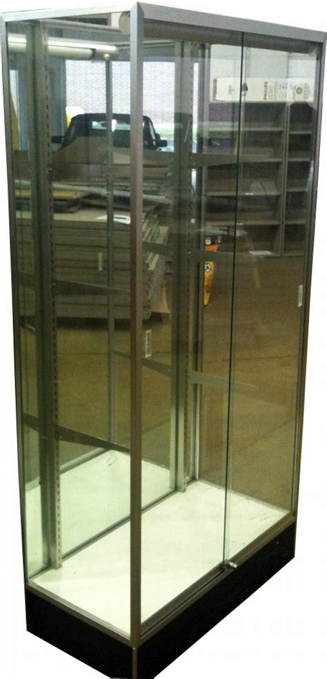 used lockable glass display used glass display case w sliding locking glass doors we