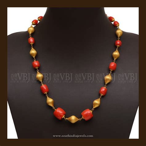 Gold Coral 22k gold coral mala south india jewels