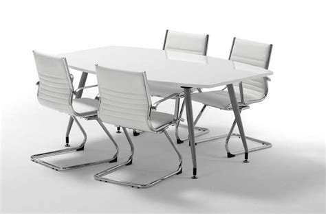 White Gloss Meeting Table High Gloss White Boardroom Table 1800mm