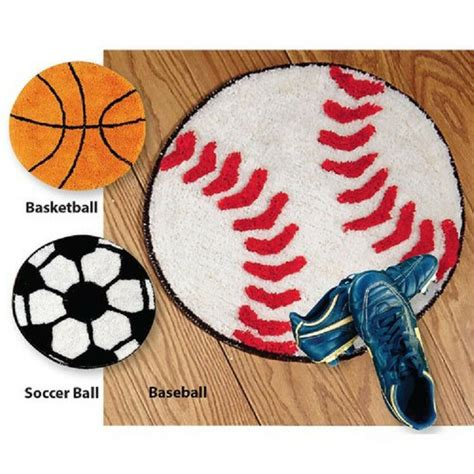 sports throw rug washable anti skid back 20 quot d basketball