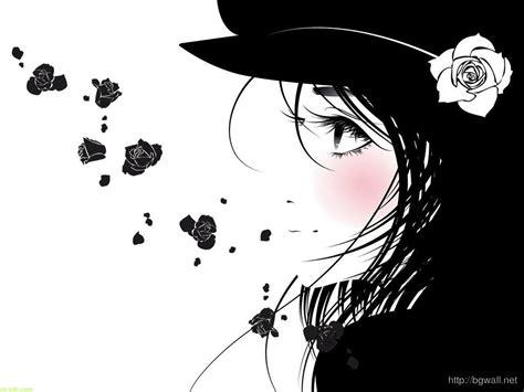 black and white emo wallpaper black white emo girl flower wallpaper hd background
