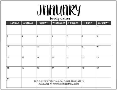 Calendar Save The Date Template 2017