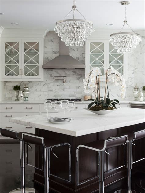 Chandeliers In Kitchen Angles Center Island Transitional Kitchen Susan Glick Interiors