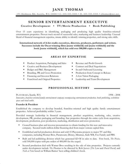 communications resume template entertainment executive page1 executive resume sles