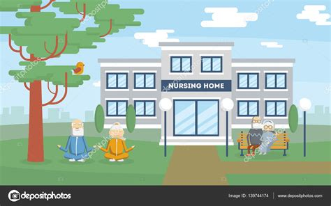 home building nursing home building stock vector 139744174