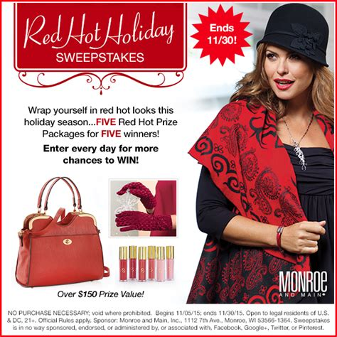 Holiday Sweepstakes 2015 - red hot holiday sweepstakes monroe and main blog