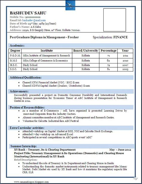 Best Resume Sles For Mba Freshers 25 Unique Resume Format For Freshers Ideas On