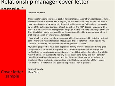 Client Account Manager Cover Letter by Relationship Manager Cover Letter