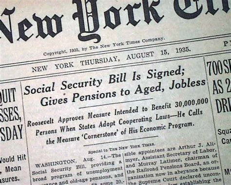 social security bill becomes in 1935
