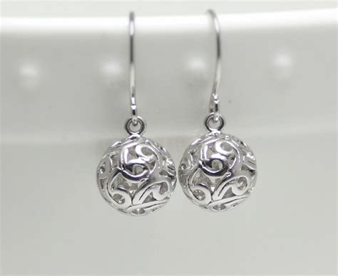 silver earring small silver dangle by ellaruthdesign