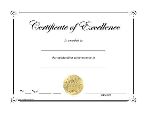 excellence award certificate free printable