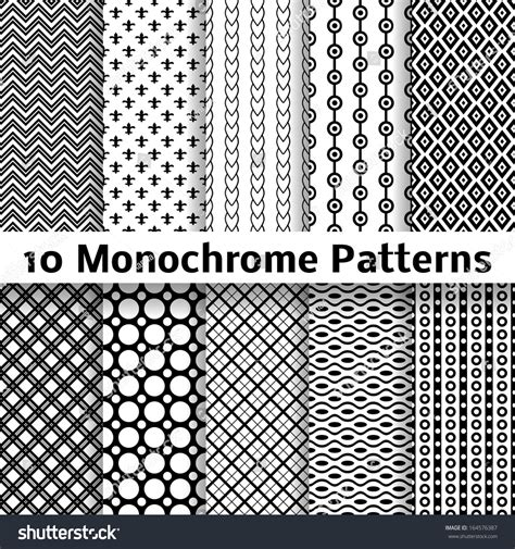 pattern and texture difference 10 monochrome different vector seamless patterns stock