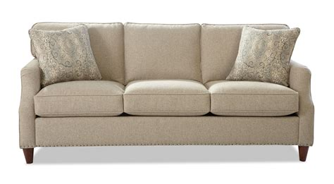 transitional sofa transitional sofa with flare tapered arms and vintage tack