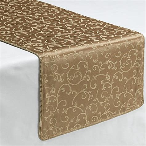 table runners bed bath and beyond buy lenox 174 opal innocence gold 70 inch decorative table