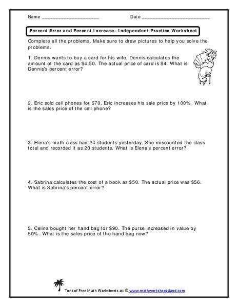 Percent Error Worksheet 7th Grade all worksheets 187 percent increase and decrease worksheets