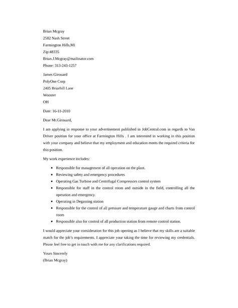 cover letter for a professional driver leading professional delivery driver cover letter exles
