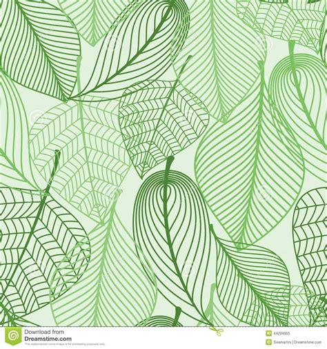 seamless pattern leaves green leaves seamless pattern background stock vector