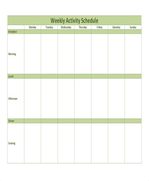 activity timetable template weekly activity schedule templates 5 free word pdf