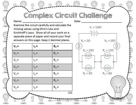Kirchhoff Worksheet by Complex Circuit Challenge Ohm S Kirchhoff S In