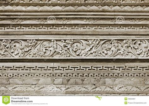 tile pattern ancient temple kotor stone ornament on wall indonesia bali island stock image