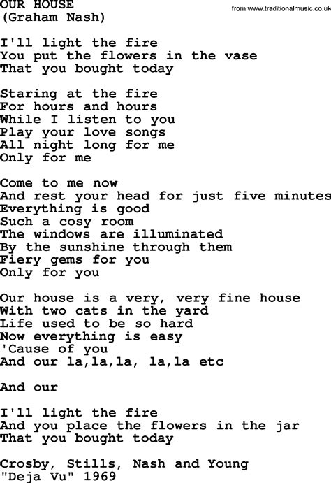 lyrics to our house our house by the byrds lyrics with pdf