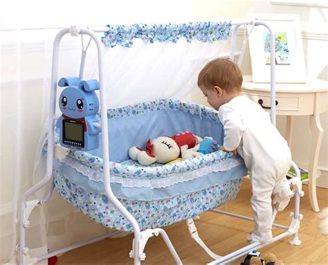 baby swings for 25 lbs and up cute electric baby cradle pink blue 2 colors for option