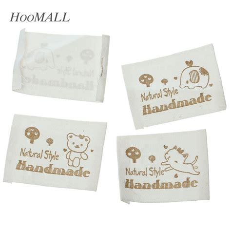 Handcrafted Labels - hoomall brand 100pcs white handmade cotton woven labels