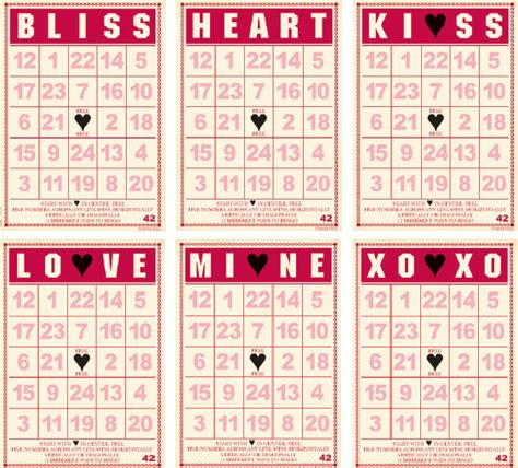 6 best images of valentine cookie bingo card printable