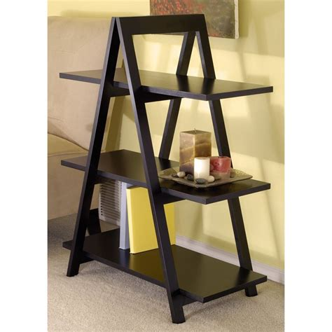 shop winsome wood black composite 3 shelf bookcase at