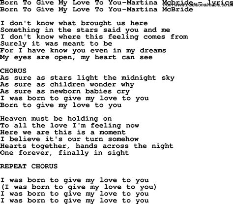 my lyrics and chords by martina mcbride song lyrics for born to give my to you martina