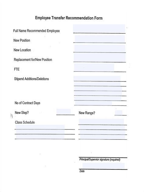 Recommendation Letter To Transfer Employee 7 Employee Transfer Form Sles Free Sle Exle Format