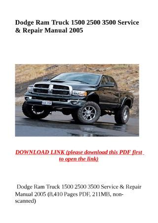 old car owners manuals 2005 dodge ram 1500 electronic valve timing dodge ram truck 1500 2500 3500 service repair manual 2005 by herrg issuu