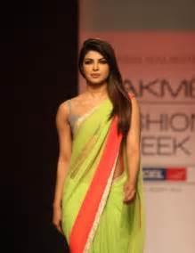 Priyanka chopra in saree at lakme fashion week stylish designer