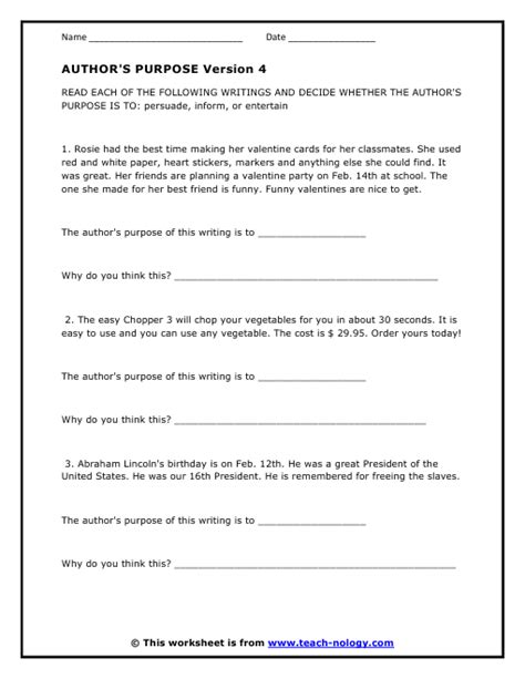 Author Purpose Worksheet by Authors Purpose Worksheets Photos Getadating