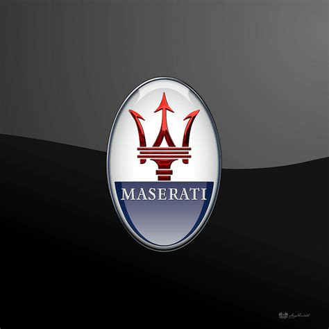 maserati back logo maserati 3d badge on black digital by serge averbukh