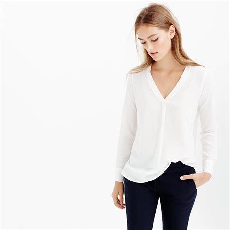 Blouse V white v neck silk blouse sleeved blouse