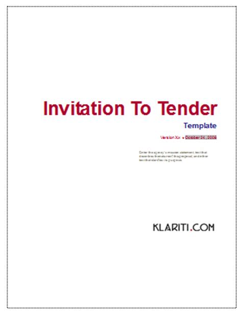 invitation  tender itt template ms word templates forms checklists  ms office