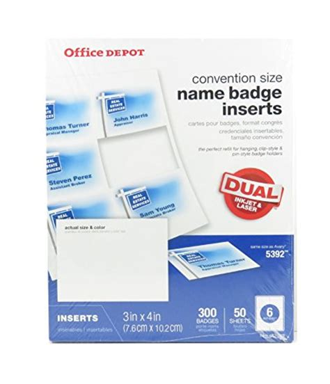 Office Depot Convention Size Name Badge Insert Refills 463 149 Pack Of 300 Supplies General Avery 5392 Publisher Template