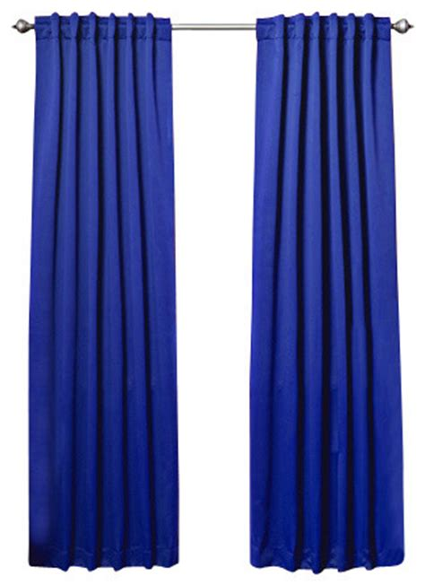 Royal Blue Blackout Curtains Solid Backtab Thermal Insulated Blackout Curtains 1 Pair Royal Blue 84 Quot Traditional