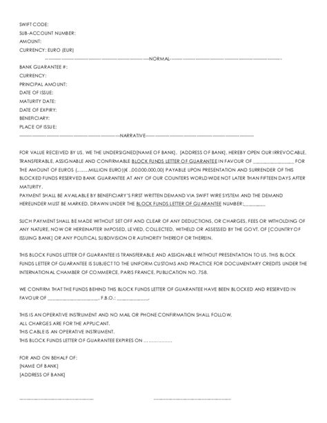 bank guarantee cancellation letter to bank bank letter of readiness text mt760