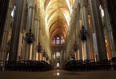 The interior of Bourges Cathedral, completed in 1230 CE