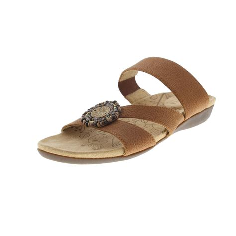 acorn 9672 womens samoset leather beaded slide sandals