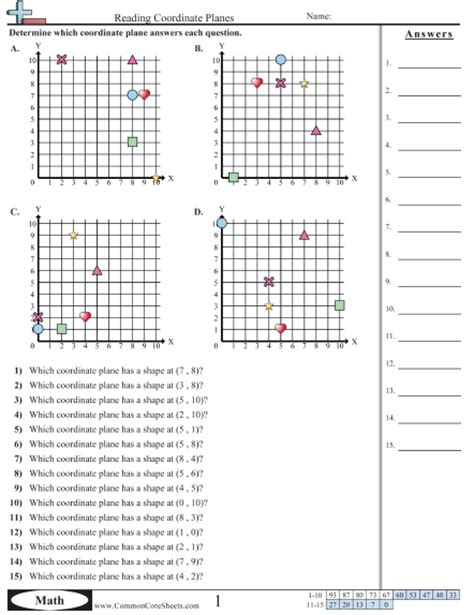 Coordinate Grid Worksheets by Common Worksheets 187 Coordinate Graph Printable Preschool And Kindergarten Worksheets