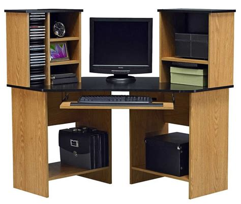 Furniture Contemporary Amer Wood Oak Corner Computer Corner Armoire Computer Desk