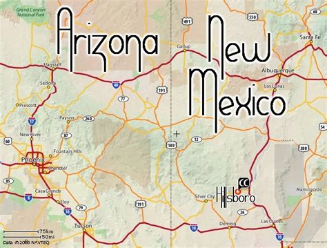 road map of arizona and new mexico cuna cueva travel maps
