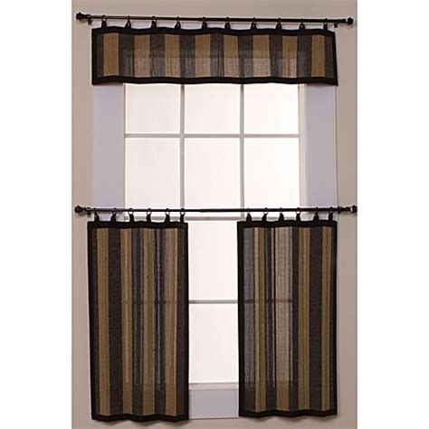 Bamboo Kitchen Curtains Easy Glide All Bamboo Ring Top Window Curtain Tier Pair 24 Inch Bed Bath Beyond